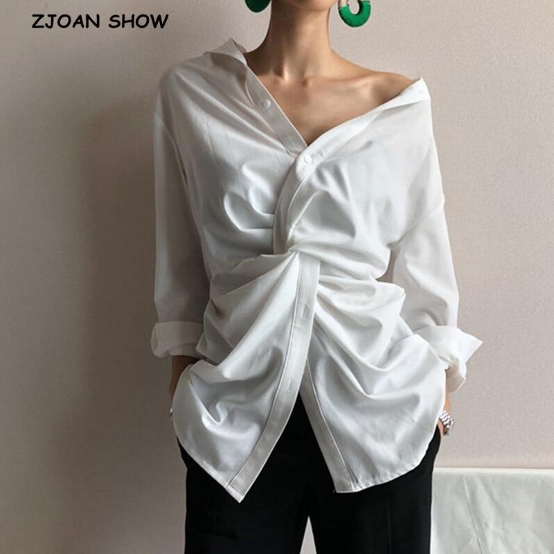 2019 nouveau automne blanc col en v à manches longues irrégulière croix lâche personnalité chemise élégant femmes Blouse haut manches longues mode