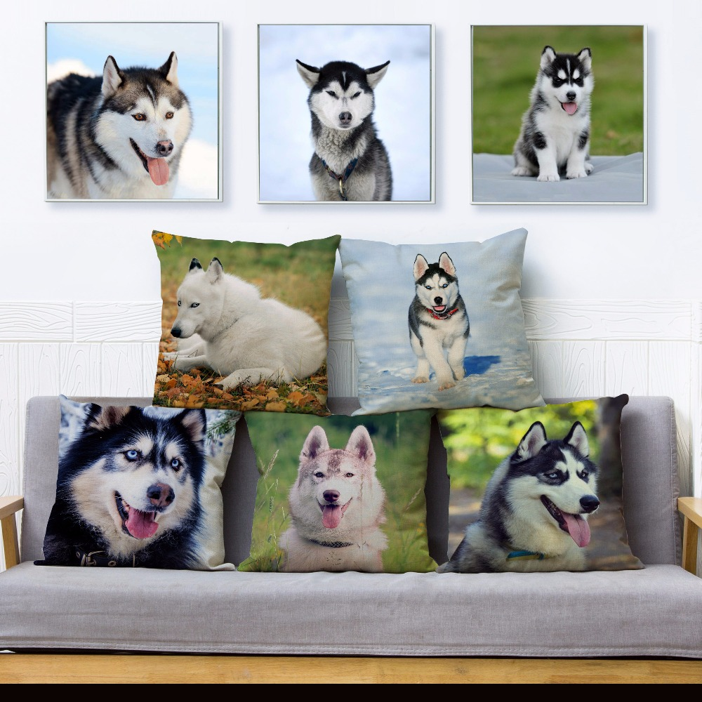 Funny Siberian Husky Dog Print Throw Pillow Cover 45*45cm Square Cushion Covers Linen Pillow Case Sofa Home Decor Pillow Case