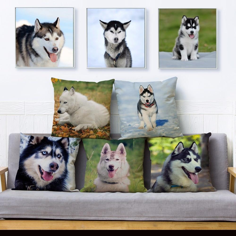 Funny Siberian Husky Dog Print Throw Pillow Cover 45*45cm Square Cushion Covers Linen Pillow Case Sofa Home Decor Pillow Case