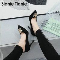 Sianie Tianie luxury brand designer metal decoration fashion office woman pumps 10cm thin high heels lady shoes women stilettos