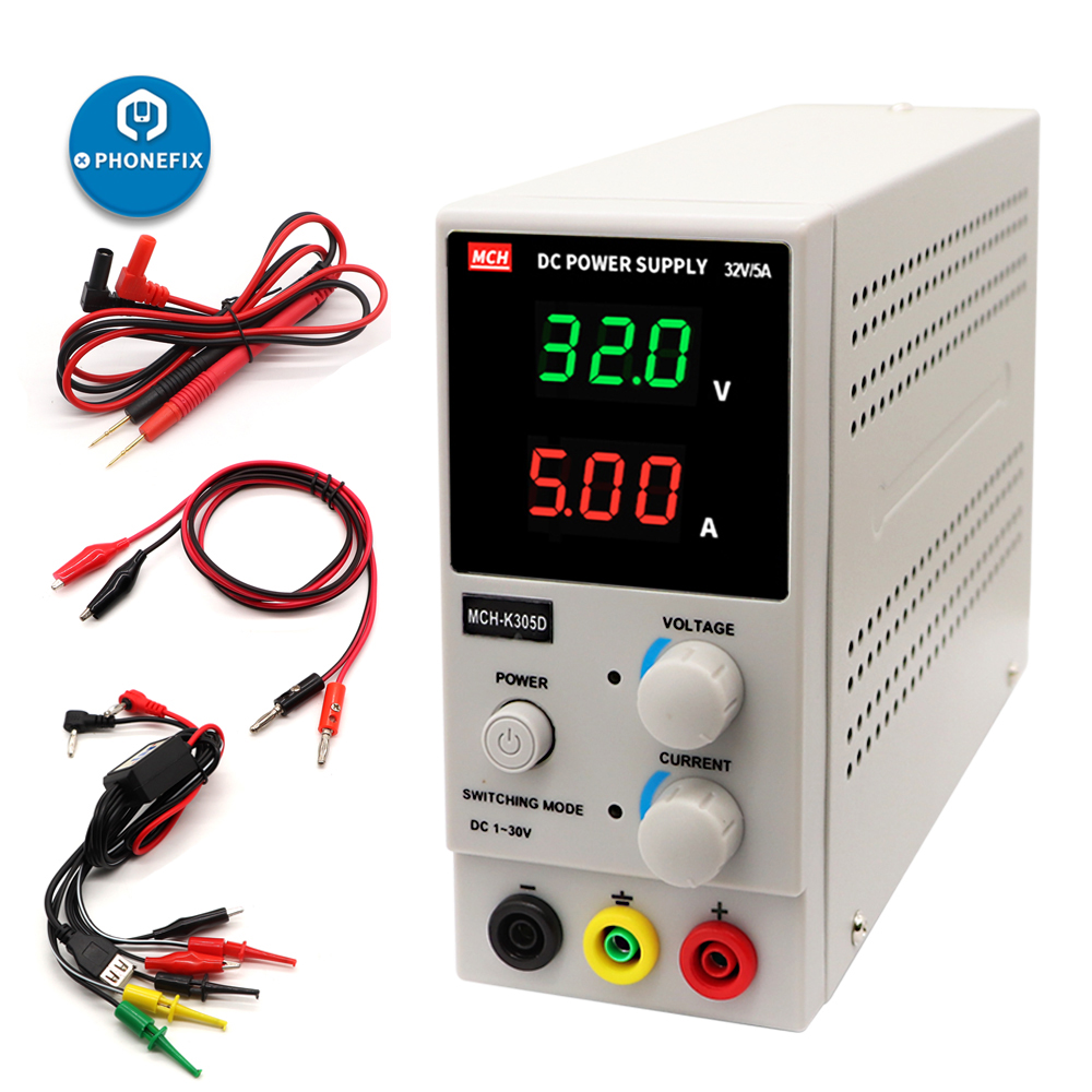 <font><b>MCH</b></font>-<font><b>K305D</b></font> Mini DC Power Supply 30V 5A Digital Adjustable Switching Regulated SMPS Single Channel Power Supply For Phone Repair image