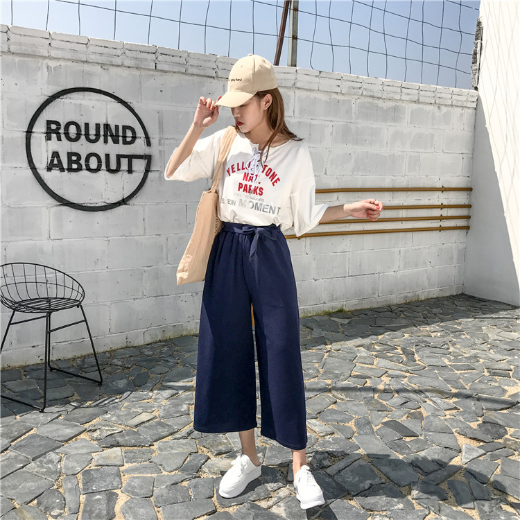 19 Women Casual Loose Wide Leg Pant Womens Elegant Fashion Preppy Style Trousers Female Pure Color Females New Palazzo Pants 49