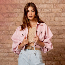 Streetwear Pink Jacket Women Clothes 2019 Autumn Fashion Slim Fit Long Sleeve Metal Single Breasted Short Womens