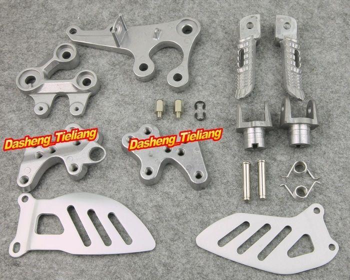 Aluminum Alloy Front Rider Foot Pegs L&R Footrest Brackets For SUZUKI 2005-2008 GSXR 1000, Motorcycle Part Accessories