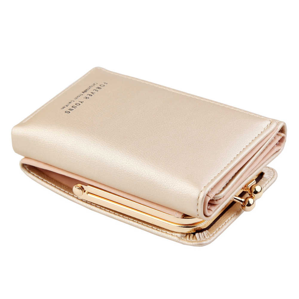2020 نساء موضة جلد ثلاثي أضعاف محفظة صغيرة النقدية حامل بطاقة محفظة نسائية للعملات المعدنية قصيرة نمط قبلة قفل