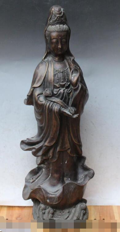 S3102 26 Chinese Bronze Stand Lotus Kwan-yin Guan Yin Bodhisattva Buddha Ru Yi StatueS3102 26 Chinese Bronze Stand Lotus Kwan-yin Guan Yin Bodhisattva Buddha Ru Yi Statue