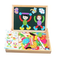 Multifunctional Children Animal Figure Statue Puzzle Wooden Magnetic Drawing Board Fantastic Easel Toys Wooden Drawing Board
