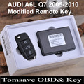 Free Shipping High Quality 3 Buttons Modified Remote Key Without 8E Chip For AUDI A6L Q7 2005-2010 Year