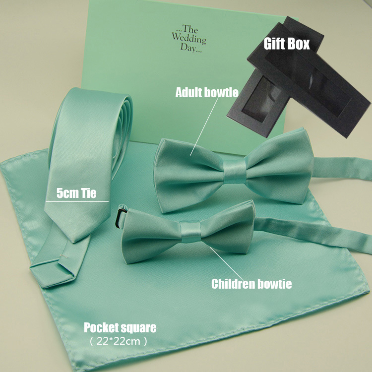Popular Mint green necktie HOT solid color bowtie pocket square with gift box for wedding
