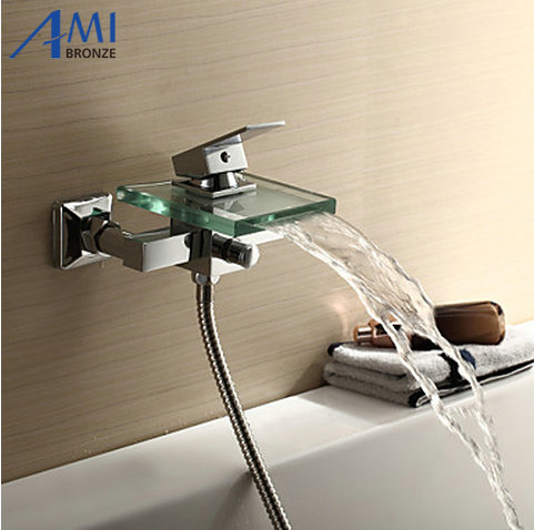 Contemporary Tub Faucet with Glass waterfall Spout Wall Mount wf03