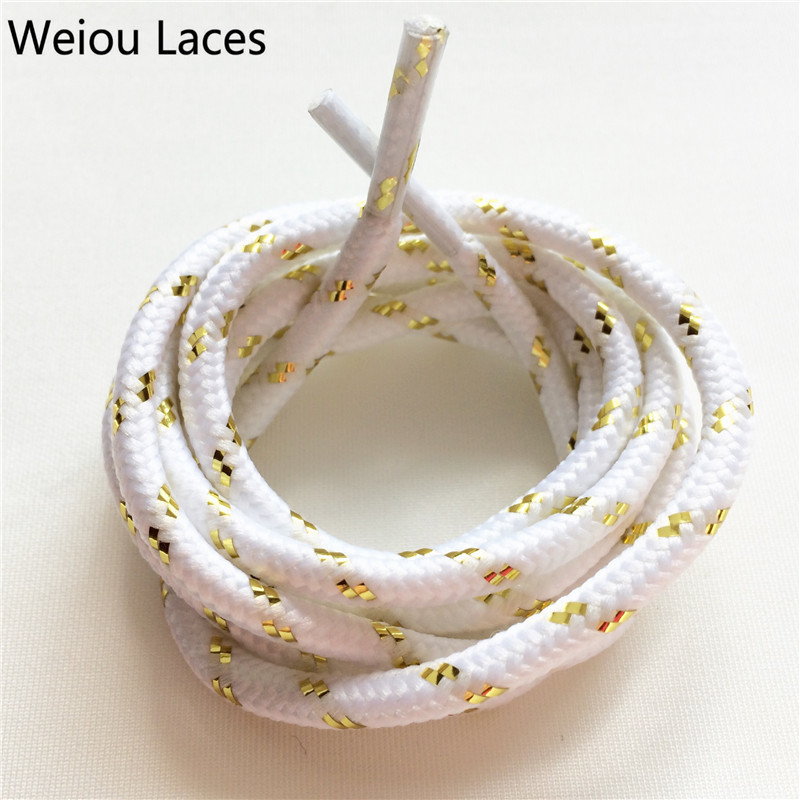 Official Weiou Diy Metallic Sports White Black Gold Shoelaces Funky Round Rope Laces For Outdoor Climbing Casual Shoes Boots nike roshe tiempo vi qs black metallic gold white