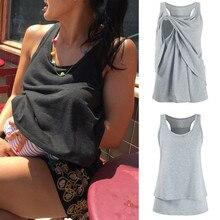 Одежда для беременных, топ для кормящих женщин, блузка для кормящих матерей, двухслойная блузка без рукавов, Футболка для беременных, Lactancia Ropa
