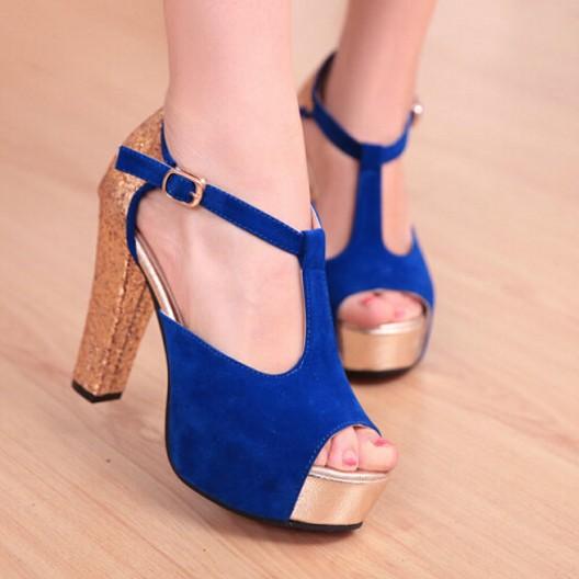 c19d29efc809 Dark Blue Pumps Womens Gold Heel Suede Ankle Strap Sandals Designer Platform  Sandals High Heel With Open Toe Dark Blue Pumps