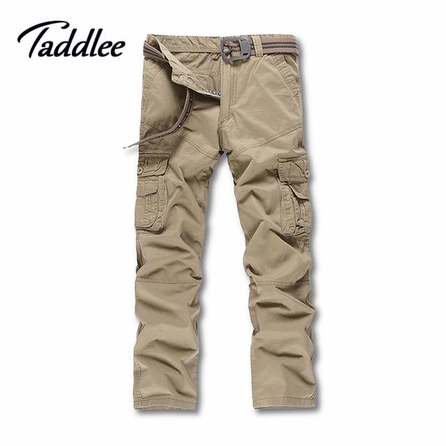 Taddlee marca europa tamaño de los hombres pantalones casuales hombres pantalones de bolsillo de múltiples de carga de trabajo militar hombres slim fit larga recta pantalones
