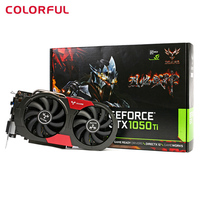 Original Colorful iGame 1050Ti Gaming Graphics Card 4GB 128bit DDR5 6Pin Computer Hardware with Cooler Fan Video Card Pro Gamer