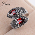 WinWinWin Vintage Red Rings for Women Size 6/7/8/9 New Top Quality Wholesale Gift Fashion Finger Ring Black Rhinestone Jewelry