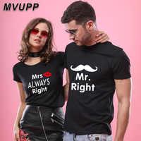 Mr mrs juego pareja trajes camiseta para amantes harajuku ropa de verano ropa de calle algodón estilo coreano ropa para parejas 2019