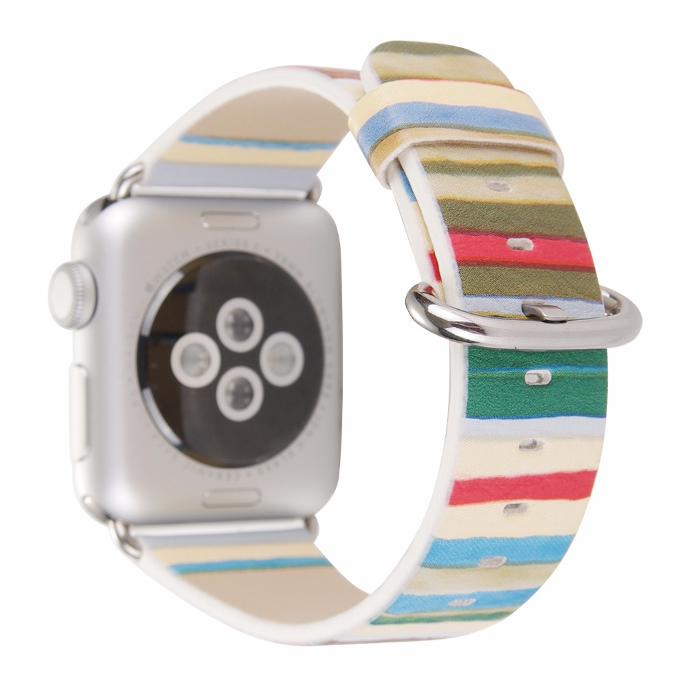 Rainbow striped pu leather band for apple watch 38 42mm series 1 2 women wrist strap replacement for Rainbow color stripe watch