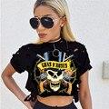 GUNS N 'ROSES T Shirt Verão Mulheres Estilo Alta Neck Buracos Graphic Tees Preto Oco Out Casual Rua Camisa T Verão Tops