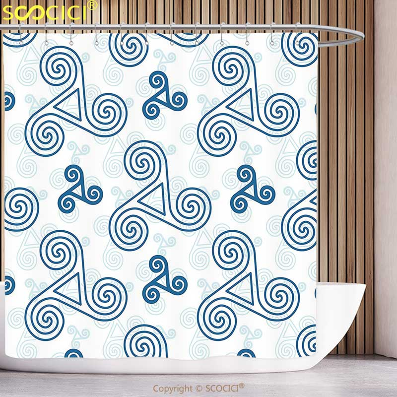 Unique Shower Curtain Decor Various Size Repeating Triskel Symbols with Triple Spiral Extensions Illustration Blue