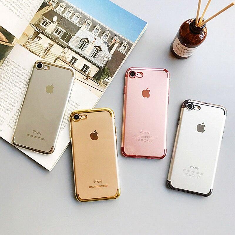 New Hot D'affaires De Mode Métallique Miroir Cadre Transparent Doux Mince Couverture Arrière pour iPhone X 7 8 plus 6 s + Téléphone Cas Fille garçon