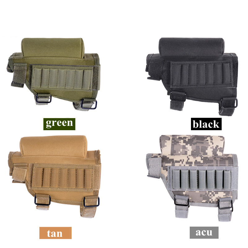 Tactical Buttstock Adjustable Rifle Shotgun Tactical Buttstock Cheek Rest Airsoft Shooting Pad Ammo Case Cartridges Holder Pouch image