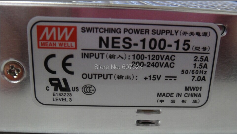 NES-100-15 15V 7A Switching power supply MEANWELL