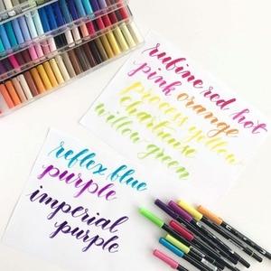 Image 3 - TOMBOW ABT çift fırça kalemler sanat Markers 10 renk seti çift kafa suluboya Marker kalem seti yazı, çizim, eskiz