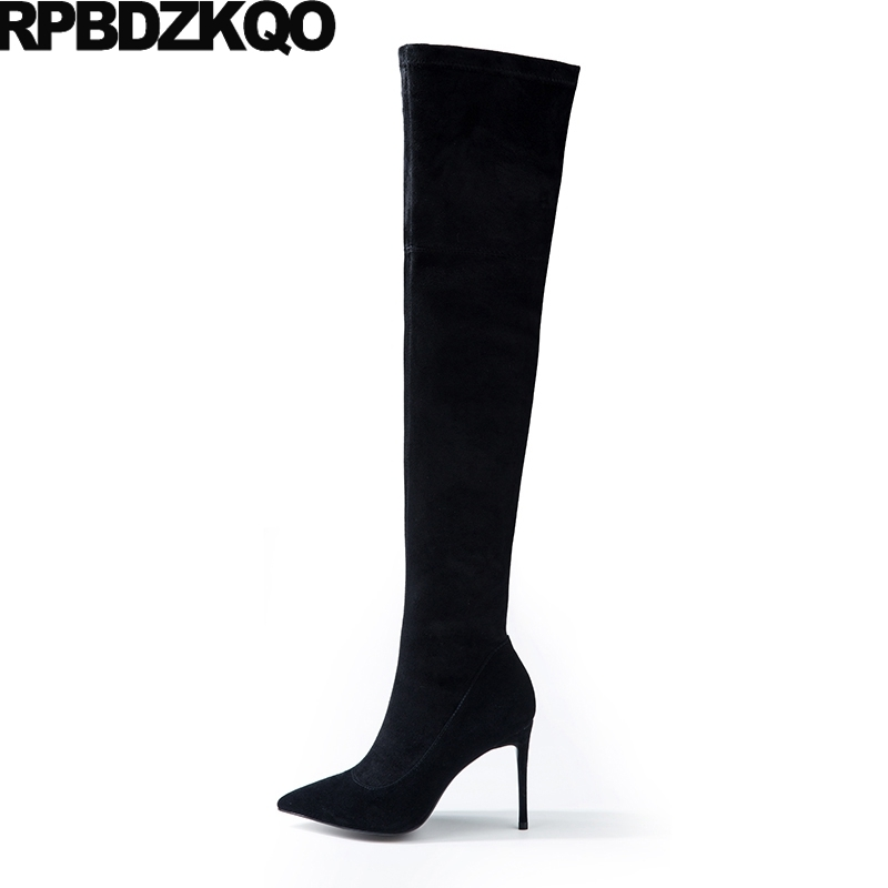 Pointy Slim Black Suede Thigh Women Boots Over The Knee Fashion Long Winter Zipper Sexy Shoes Fall New 2017 Female Ladies new fashion back lace women over the knee boots black suede leather ladies pointy toe thigh boots stiletto boots
