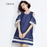 European Large Size Ladies Dress Vestidos 2017 Summer Off The Shoulder Denim Women Dresses Patchwork Hollow