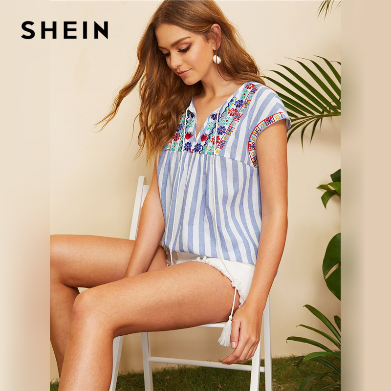 SHEIN Bohemian Blue Tassel Tie Embroidered Yoke Striped Top Women Summer V Neck Blouse Cap Sleeve Fringe Womens Tops and Blouses-in Blouses & Shirts from Women's Clothing on AliExpress - 11.11_Double 11_Singles' Day 1