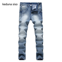 2017 New Fashion Famous Brand Men's Jeans Straight Men Distressed Trousers Washed Ripped Jeans For Men Male Pants