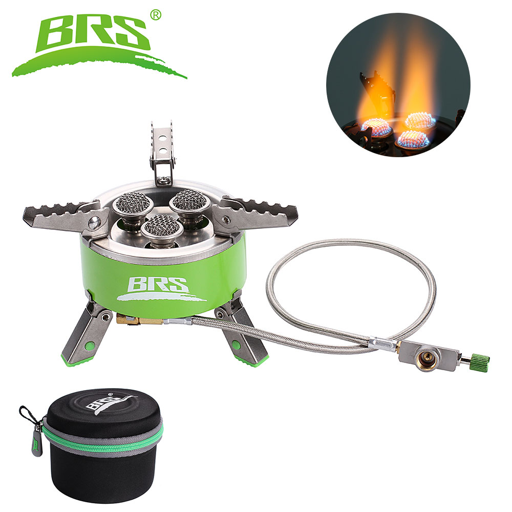 BRS-73 Outdoor 4200W Camping Gas Stove Windproof Folding Gas Stove Hiking Picnic Foldable Cooking Gas Stove Furnace outdoor stove brs 11 gas burner camping stove gas cooker portable windproof hiking climbing picnic with adapter gas stove