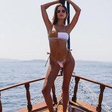 Women Bandeau Patchwork Striped Brazilian Bikinis Set