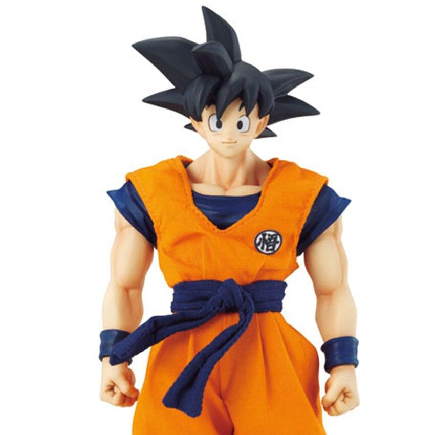 Haocaitoy Super Saiyan soleil Goku Dragon Ball cheveux noirs vrais vêtements PVC 21 cm figurine jouets bande dessinée Fans Collection pour cadeau