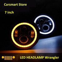 1 Pair 7 LED Angel Eyes Headlight For Jeep Wrangler JK TJ LJ H4 Hi Low