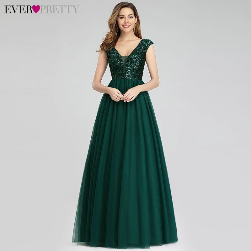 V-Neck Sequined Formal Dress Ever Pretty EP00983 A Line Long Green Evening Dresses Robe De Soiree Elegant Abendkleider Prom Gown