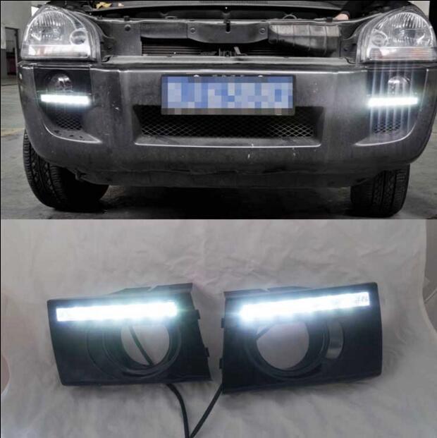 ФОТО Hireno Super-bright LED Daytime Running Light for Hyundai Tucson 2005-09 LED Car DRL fog lamp 2PCS