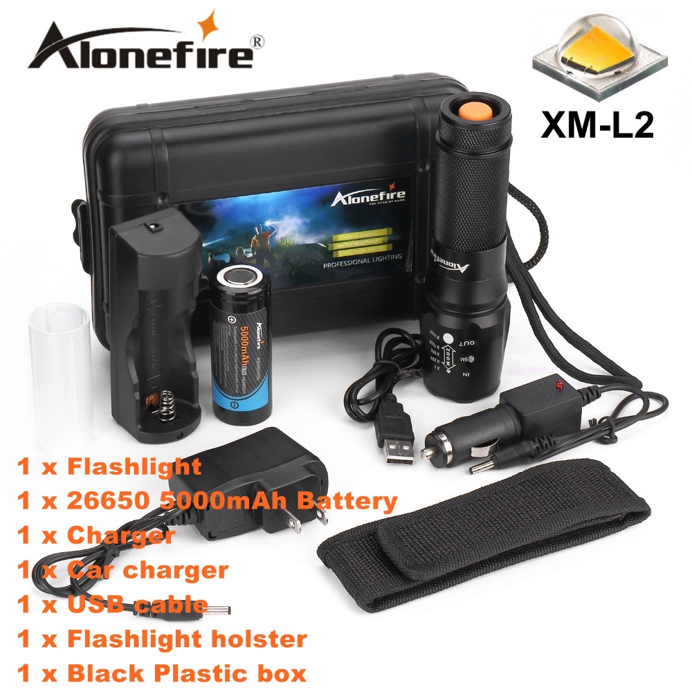ALONEFIRE X800 Zoomable High power tactical flashlight XM-L2 led flashlight torch lighting Defensive light+26650 battery+charger alonefire x160 cree xm l2 led flashlight high power lighting flashlight torch with 26650 battery charger