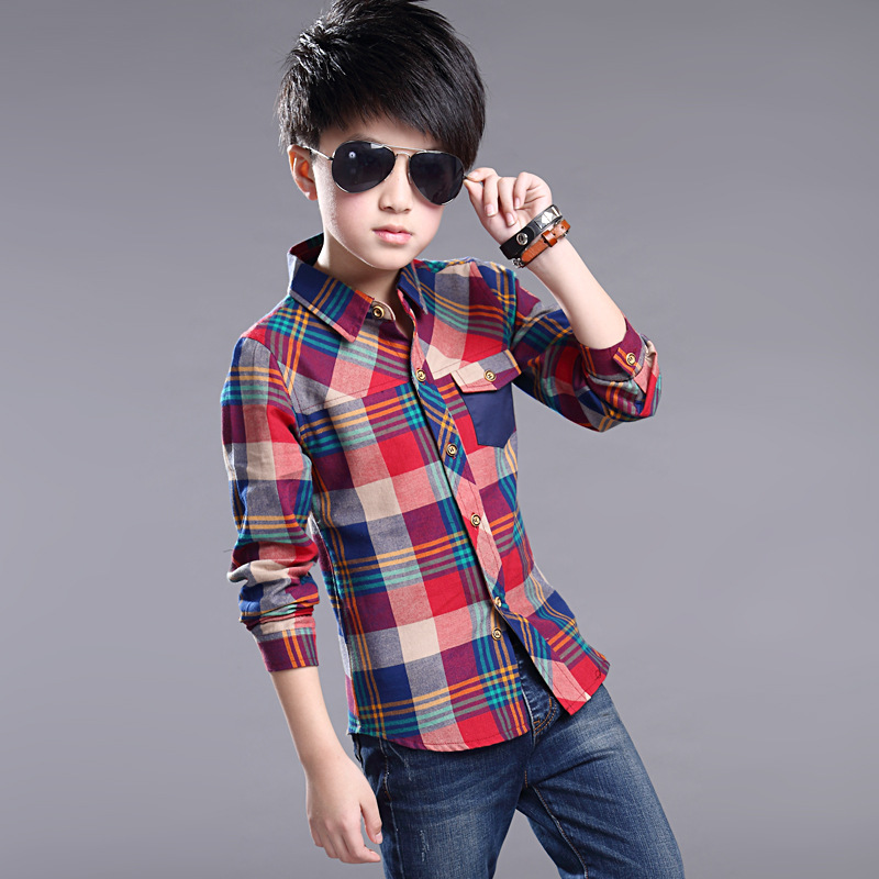 74d1ff435 Children Clothing Plaid Shirts for Boys Spring Tops Autumn Teenager  Outerwear Kids Blouse Infant Shirt Full Sleeve 5 15Y Clothes-in Shirts from  Mother ...
