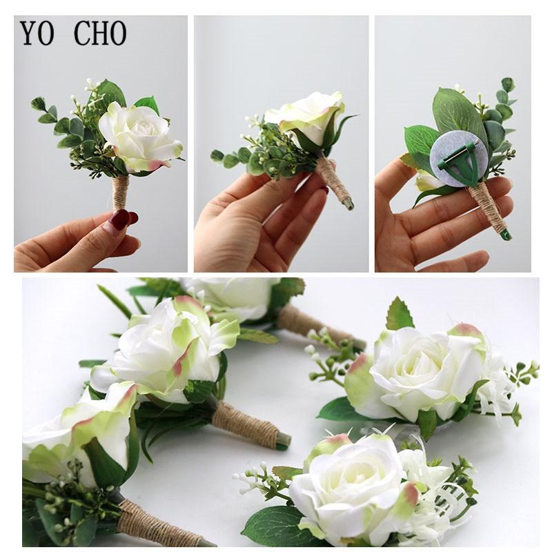 Yo Cho Rose Artificial Wrist Corsage Bracelet Bridesmaid White Rose