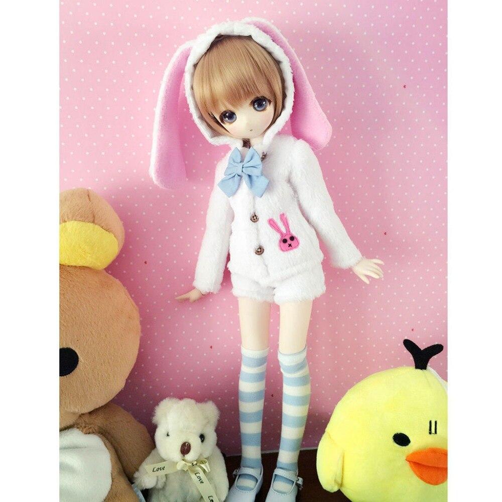 wamami 4pcs White Cute Bunny Coat Shorts Socks Bow knot For 1 3 SD DOD