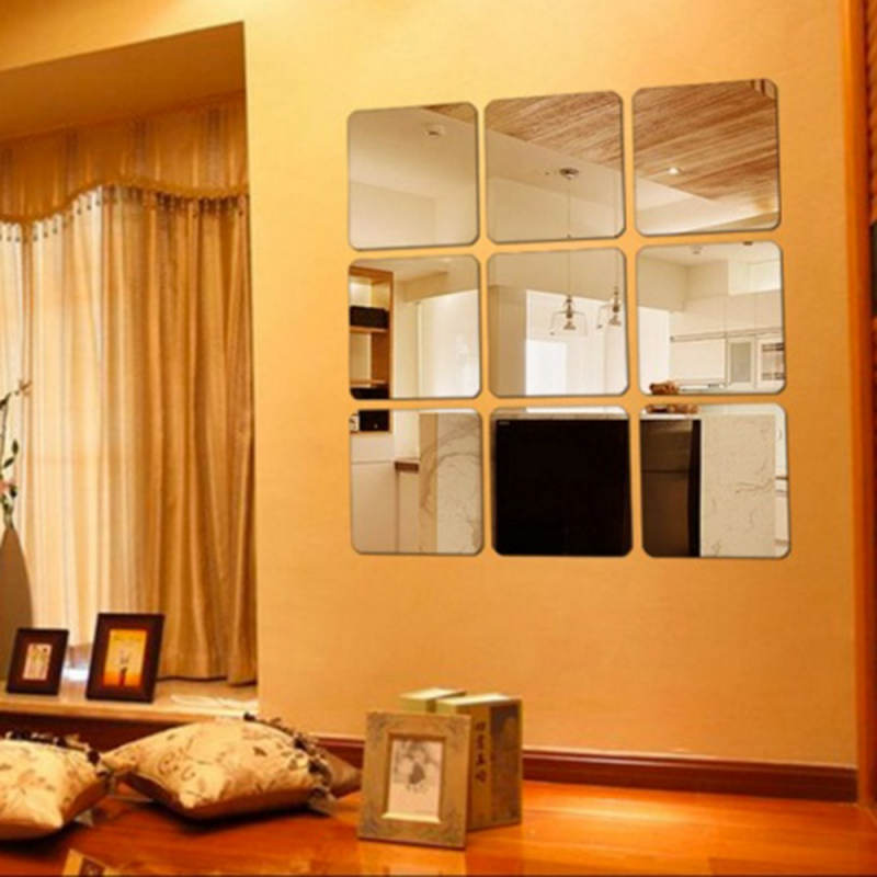 6 Pcs Square Mirror Tile Obtuse Angle Wall Stickers 3D Sticker Decal Mosaic Home Room Decoration