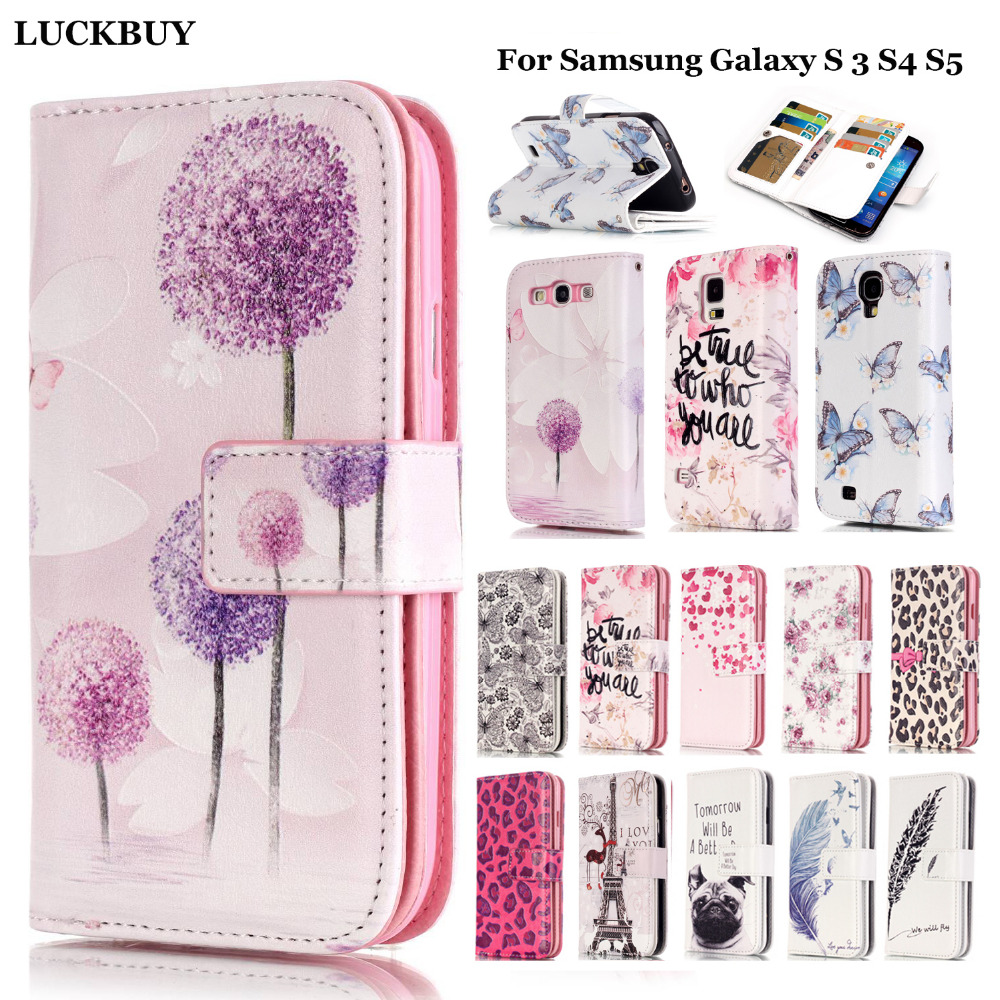 LUCKBUY 9 Card Slots Wallet Style Painted PU Leather Flip Case Cover For Samsung Galaxy S3 S4 S5 Phone cover case Stand Function