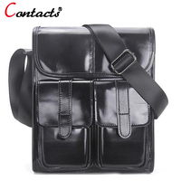 CONTACT S Genuine Leather Men Messenger Bags Large Capacity Briefcases Shoulder Crossbody Bag Famous Brands Business