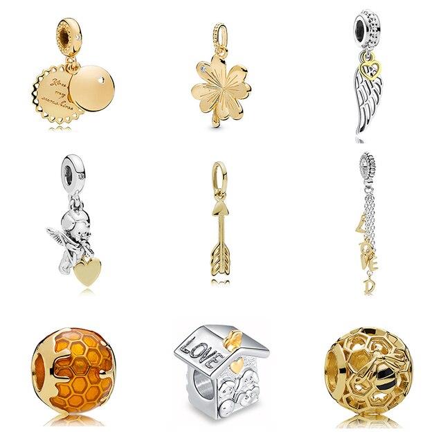 a8f184477 New Original Silver Plated Bead Gold Color Honey Bee Charm Cupid Arrow Dangle  Fit Pandora Bracelet