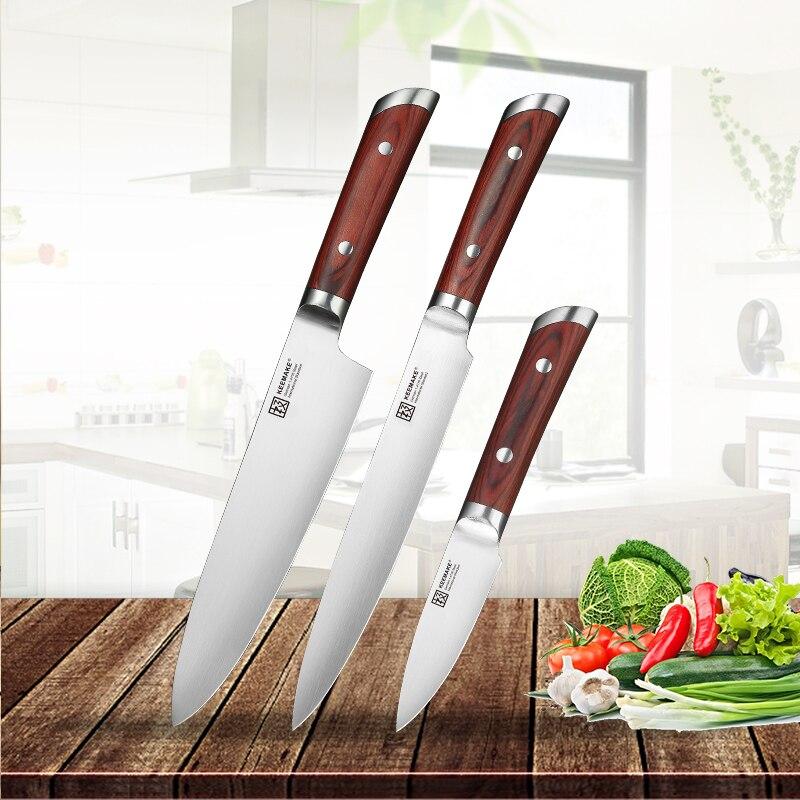 SUNNECKO 3 pièces Ensemble de Couteaux de Cuisine Allemand 1.4116 En Acier Haute Qualité Chef Trancher couteau à Manche En Bois De Couleur Viande Coupe-Fruits