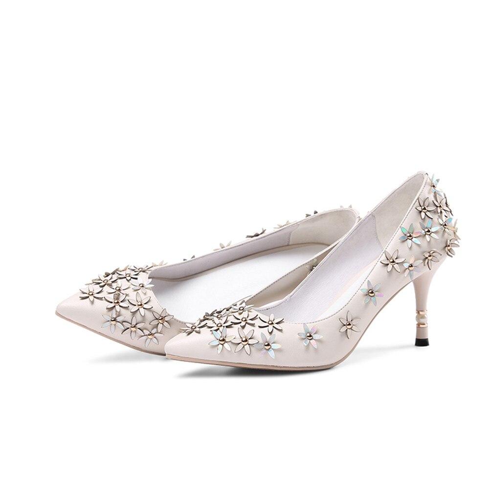 De Chaussures Noir Haute Talons Pointu Bout beige Fahsion Fleurs En Pompes Masgulahe Élégant Doux Véritable Peu Profonde Mariage Femmes Cuir wSY4aqUBOK