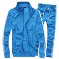 Весна Осень Случайный Тонкий Leisure Suit Мужчины Новая Мода Твердые Стенд Воротник Молодежи Мужские Спортивный Костюм Набор Плюс Размер