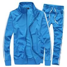 Frühling Herbst Beiläufige Dünne Freizeitanzug Männer Neue Mode Solide Stehkragen Jugendliche Herren Trainingsanzug Set Plus Größe